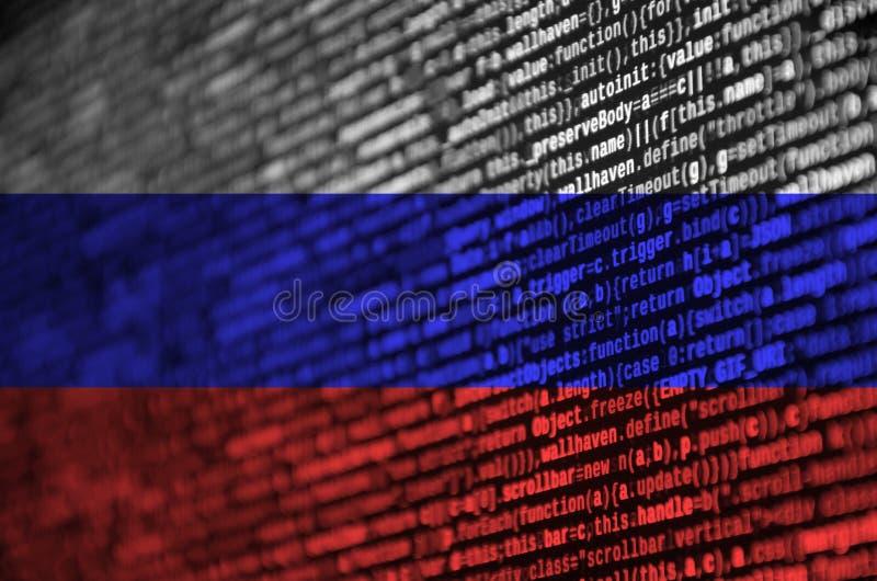 俄罗斯旗子在有节目代码的屏幕上被描述 现代技术和地点发展的概念 向量例证
