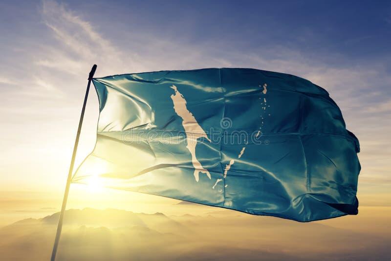 俄罗斯旗子纺织品挥动在上面的布料织品萨哈林州  皇族释放例证