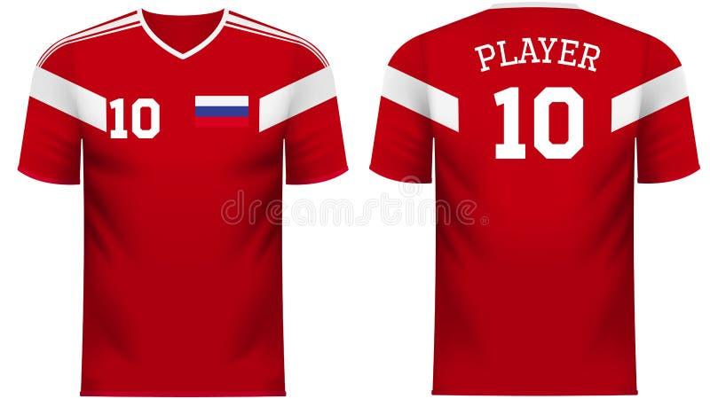 俄罗斯爱好者炫耀在普通国家颜色的T恤杉 皇族释放例证