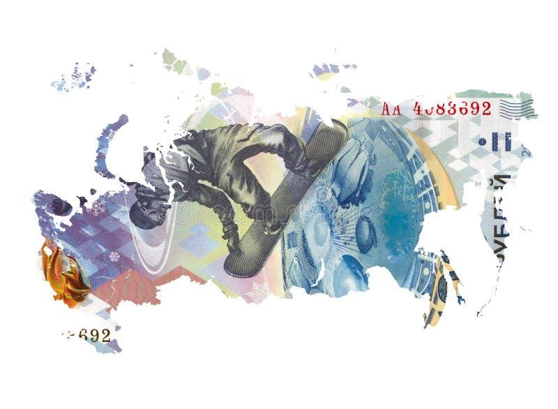 俄罗斯的地图做了100俄罗斯卢布钞票 库存例证