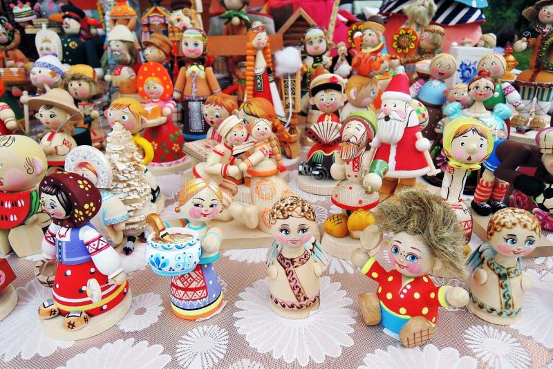 从俄罗斯的许多纪念品 戏弄木 库存图片