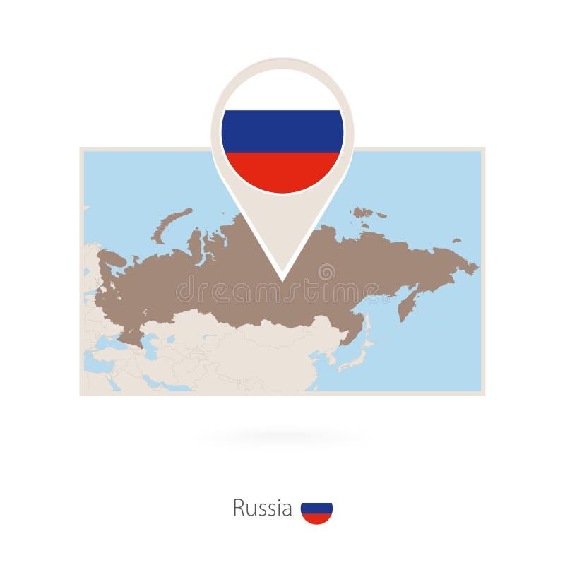 俄罗斯的长方形地图有俄罗斯的别针象的 向量例证