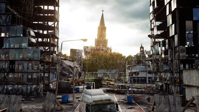 俄罗斯的默示录 鸟瞰图被毁坏的莫斯科市 概念 3d翻译 免版税库存照片