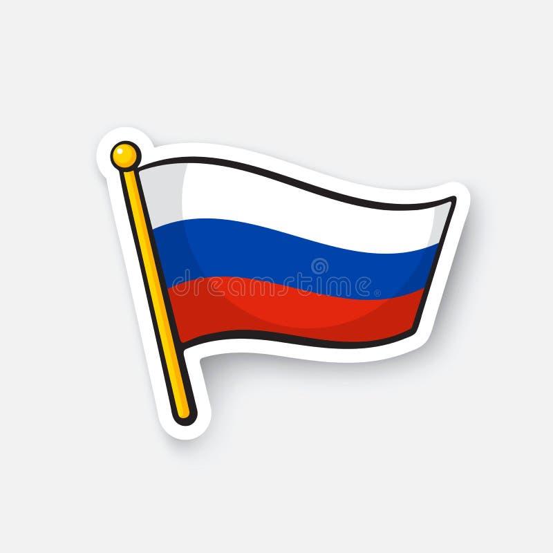 俄罗斯的贴纸旗子旗竿的 向量例证