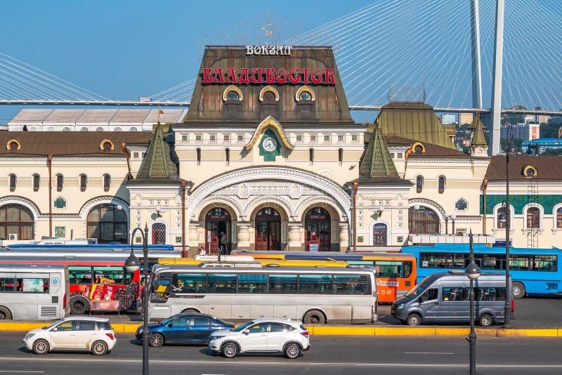 俄罗斯符拉迪沃斯托克的远东首都的火车站的大厦,位于滨海边疆区 库存图片