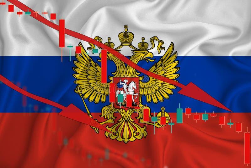 俄罗斯联邦国旗、货币在国旗和股价波动背景下的下跌 危机概念 免版税库存图片