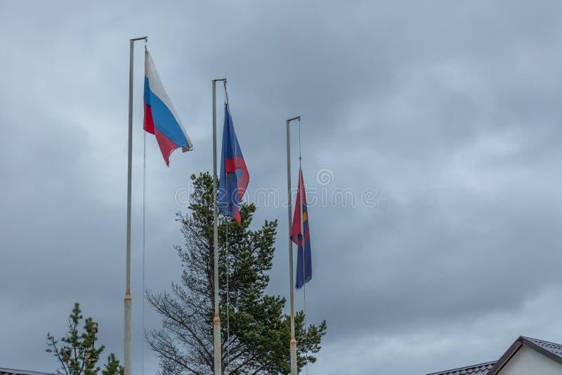 俄罗斯联邦国旗,摩尔曼斯克地区国旗,萨米语旗 免版税图库摄影
