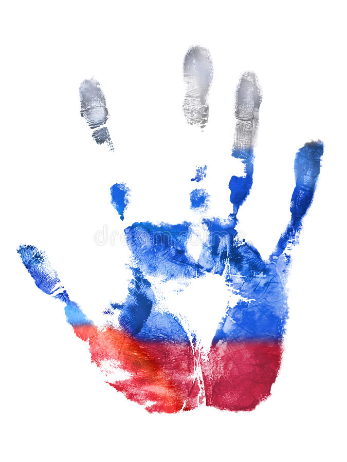 俄罗斯联邦旗子的右手的指纹 免版税库存图片