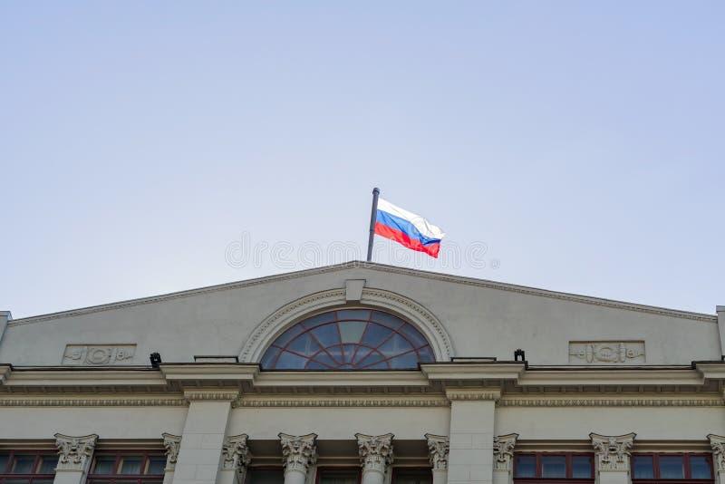 俄罗斯莫斯科 — 2018年4月11日:俄罗斯联邦总统在瓦尔瓦尔卡街的行政管理 免版税库存照片