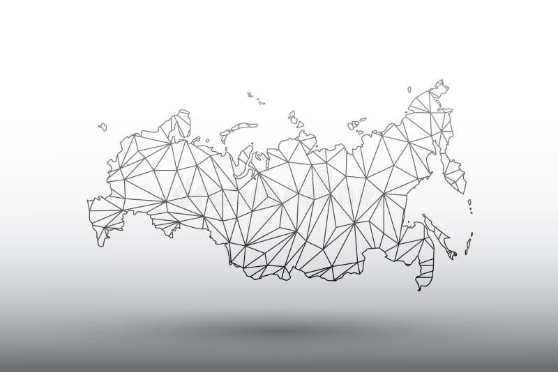 俄罗斯黑色几何被连接的线地图传染媒介使用三角的在意味强的网络的轻的背景例证 向量例证