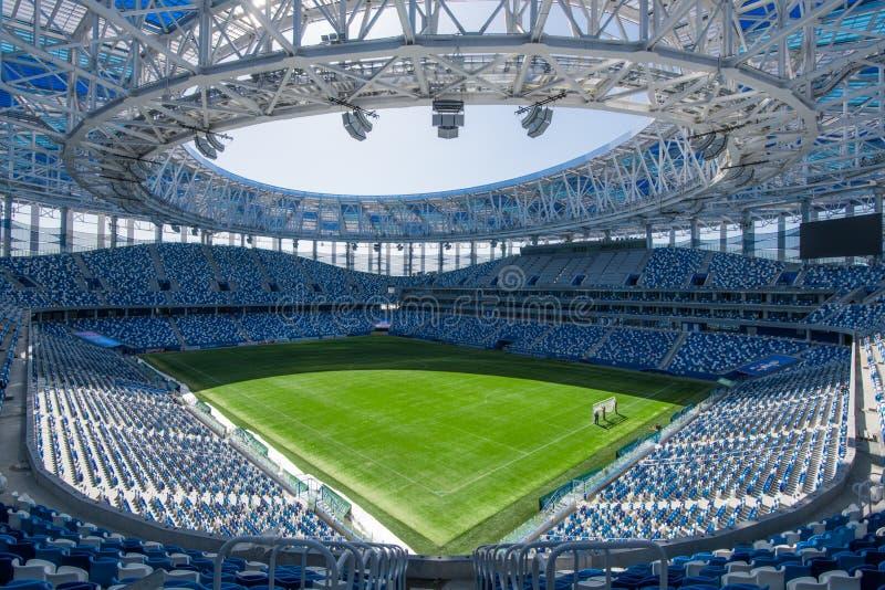 俄罗斯,下诺夫哥罗德- 2018年4月16日:下诺夫哥罗德体育场看法,安装为2018年世界杯足球赛 库存照片