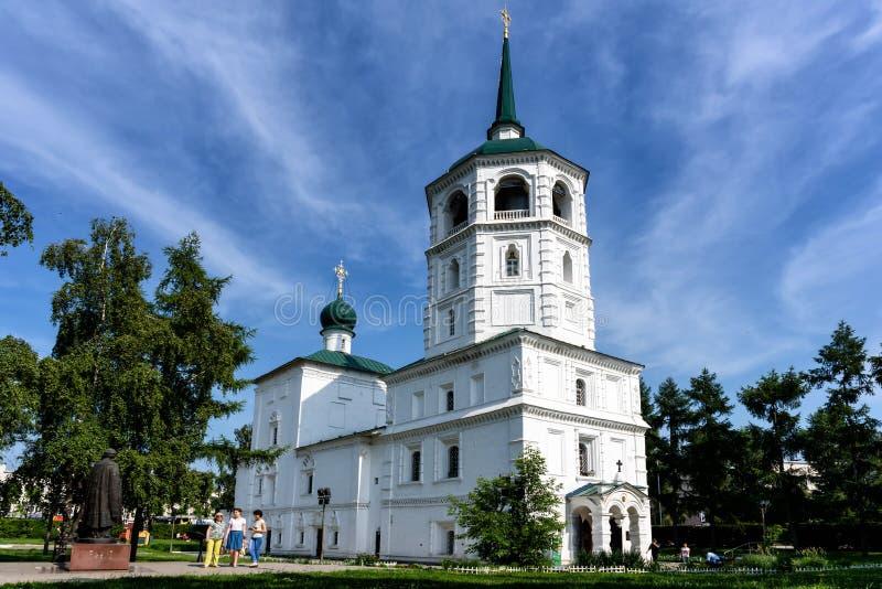 俄罗斯,伊尔库次克- 2019年7月6日:Chist Spasskaya教会救主在伊尔库次克市的中心是一个最老 库存图片