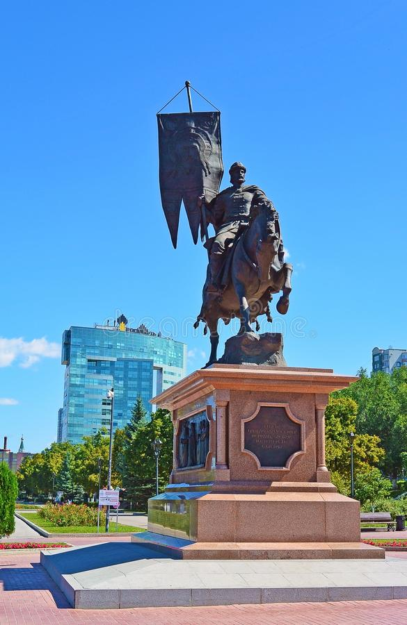 俄罗斯,翼果2017年:对Grigory Zasekin的一座纪念碑 库存照片