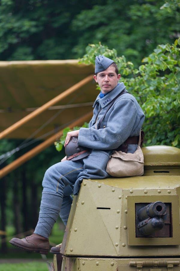俄罗斯,莫斯科- 2017年6月9日:第一次世界大战的106军团法国的战士 莫斯科历史节日时间 库存图片
