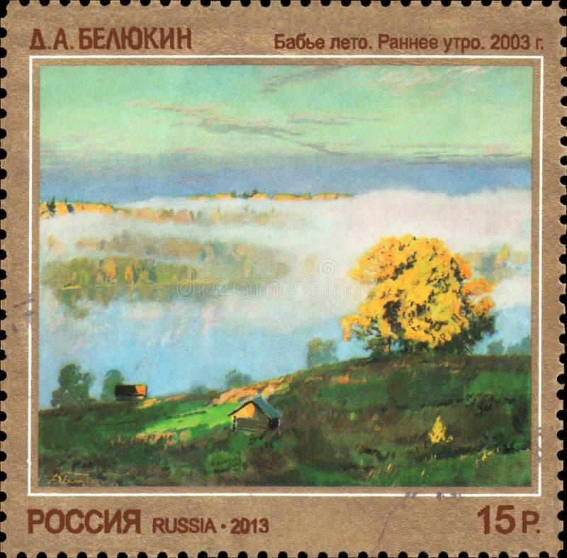 俄罗斯-大约2013年:在俄罗斯打印的邮票致力了当代艺术俄罗斯, D A Belyukin 小阳春 库存图片