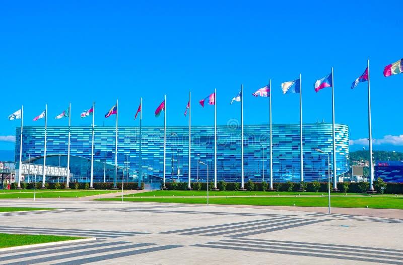 俄罗斯-奥林匹克公园10月14日2018索契 冰宫殿冰山 免版税库存照片
