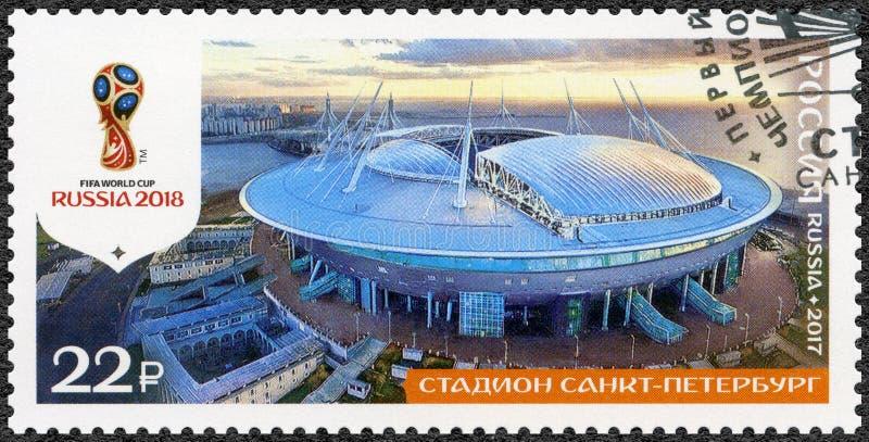 俄罗斯- 2017年:展示体育场在圣彼德堡,Krestovsky天顶号运载火箭竞技场圣彼德堡体育场,系列体 库存图片