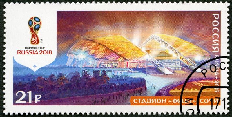 俄罗斯- 2015年:展示Fisht体育场,索契,系列体育场, 2018年橄榄球世界杯俄罗斯 图库摄影