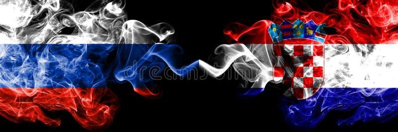 俄语对克罗地亚,肩并肩被安置的克罗地亚烟旗子 俄罗斯和克罗地亚,克罗地亚人的厚实的色的柔滑的烟旗子 向量例证
