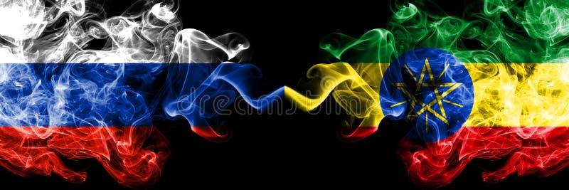 俄语对埃塞俄比亚,肩并肩被安置的埃赛俄比亚的烟旗子 俄罗斯和埃塞俄比亚的厚实的色的柔滑的烟旗子,埃赛俄比亚 库存例证