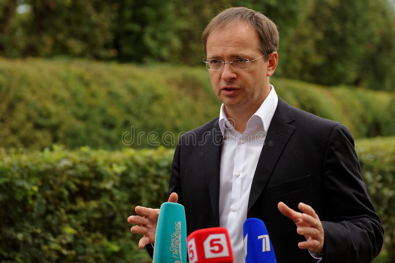 俄语文化部部长弗拉基米尔Medinsky 免版税库存图片