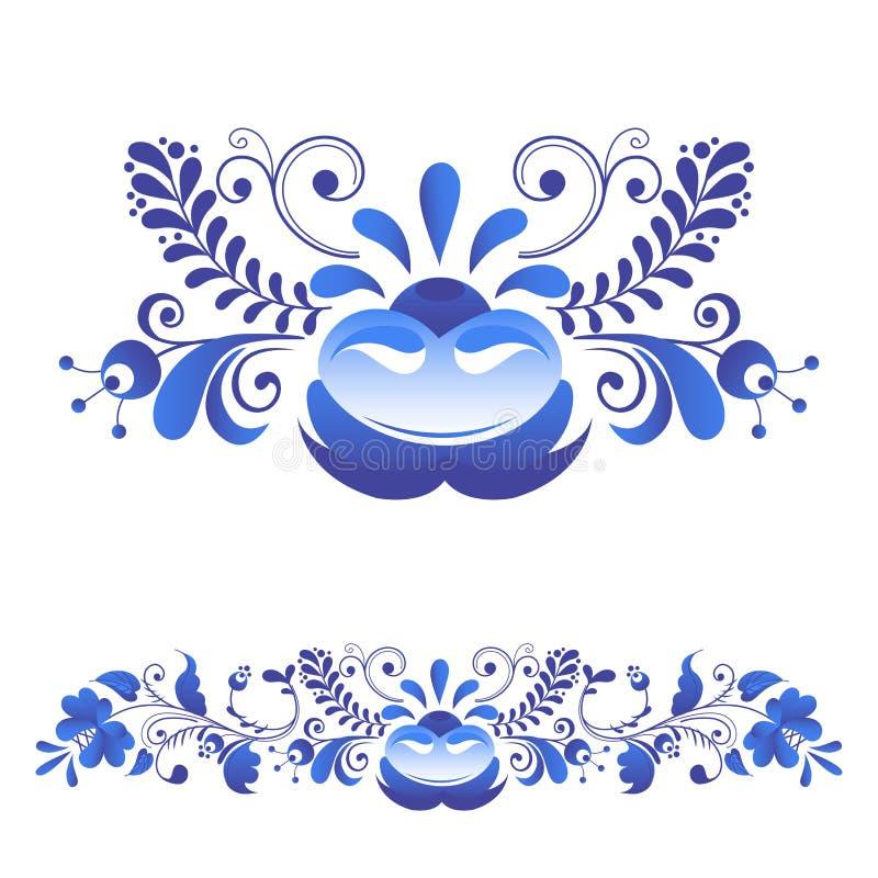 俄语装饰艺术gzhel样式绘与在白花传统民间绽放分支样式传染媒介的蓝色 向量例证
