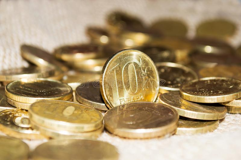 俄语10卢布硬币特写镜头 免版税库存照片