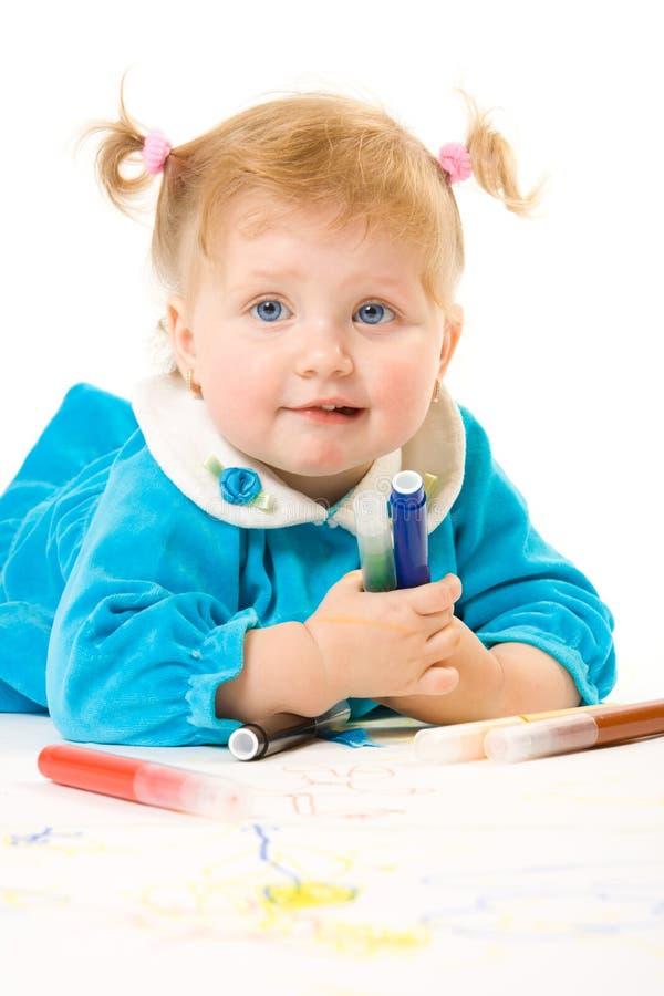 俏丽婴孩白种人的油漆 库存照片