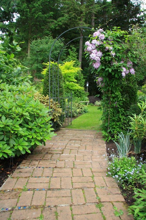 俏丽庭院的路径 库存图片