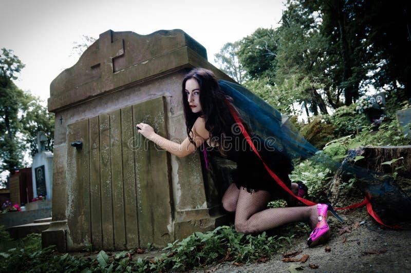 俏丽的吸血鬼开放土窖 库存照片