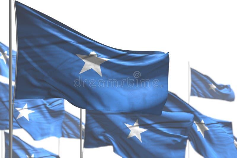俏丽的国庆节旗子3d例证-许多索马里旗子是在与bokeh的白的图片隔绝的波浪 皇族释放例证