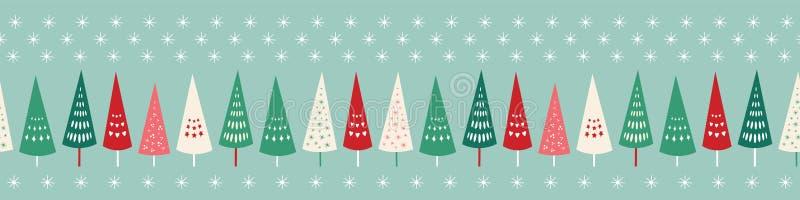 俏丽的圣诞树和星边界无缝的重复样式 圣诞节的表面样式设计背景理想 向量例证