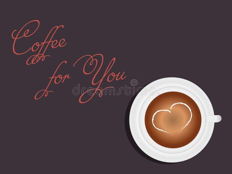 俏丽的场面:一美好的白色Ñ 与奶油的心脏的咖啡和您的一份手写的咖啡黑暗的背景的 向量例证