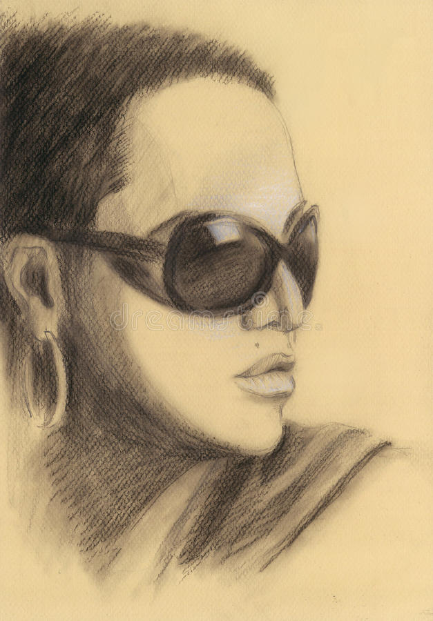 俏丽的太阳镜妇女 画象 葡萄酒 图画 向量例证