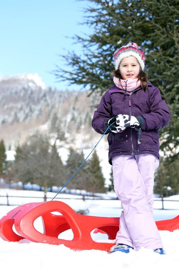 俏丽的女孩使用与在雪的红色雪撬 图库摄影
