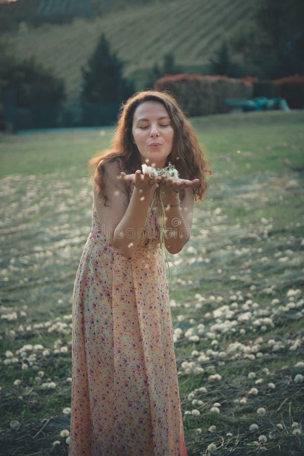 俏丽的女孩吹的蒲公英在夏天公园 库存图片