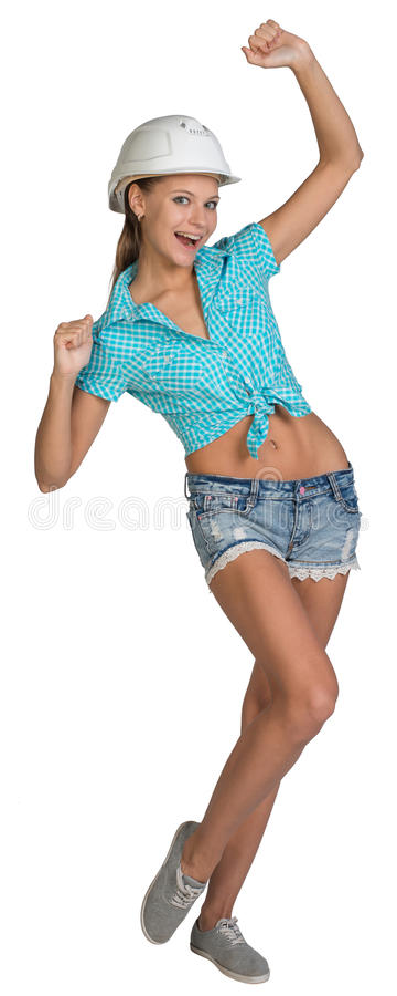 俏丽的女孩简而言之、衬衣和白色盔甲 免版税库存照片