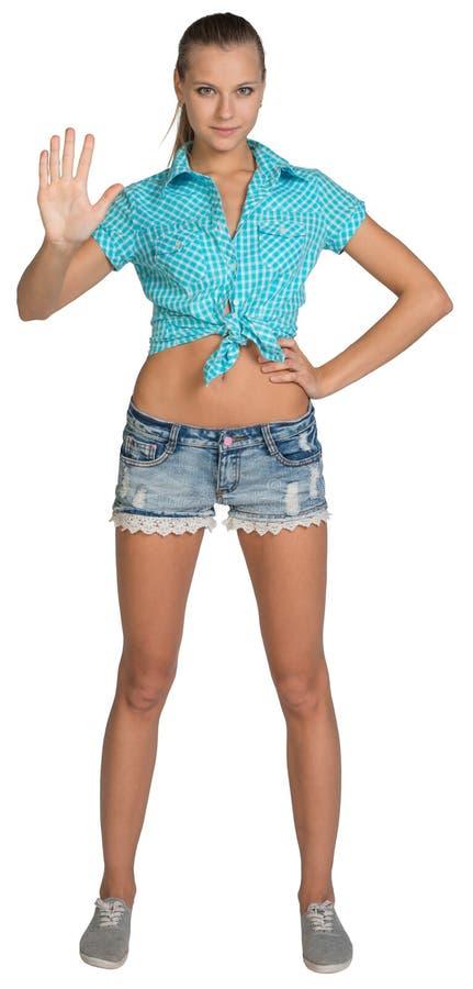 俏丽的女孩简而言之和衬衣陈列停止手 库存照片