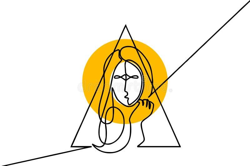 俏丽的女孩连续的一线描 在白色背景的传染媒介例证简单派妇女女性设计好为海报 皇族释放例证