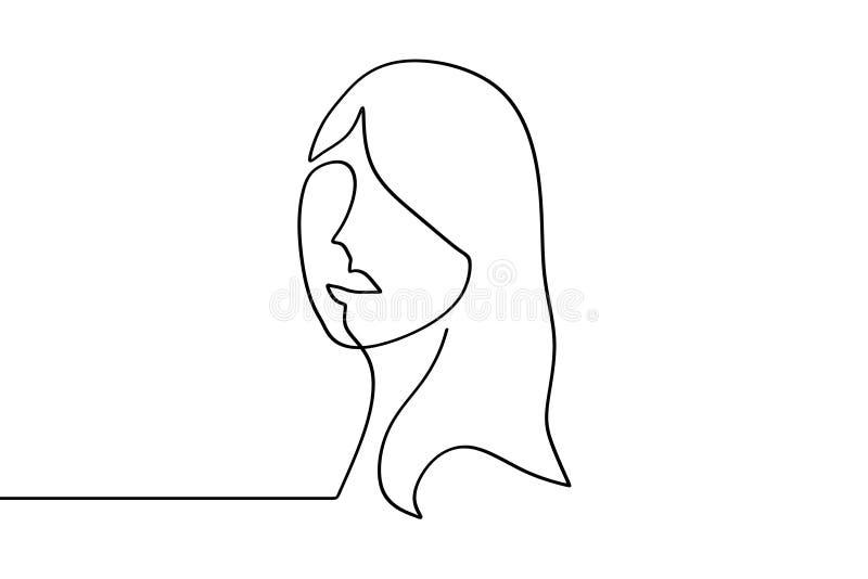 俏丽的女孩连续的一线描 在白色背景的传染媒介例证简单派妇女女性设计好为海报 库存例证