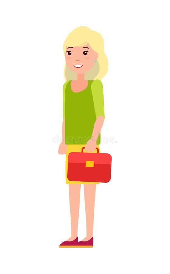 俏丽的女小学生红色提包,第一名年学生 皇族释放例证