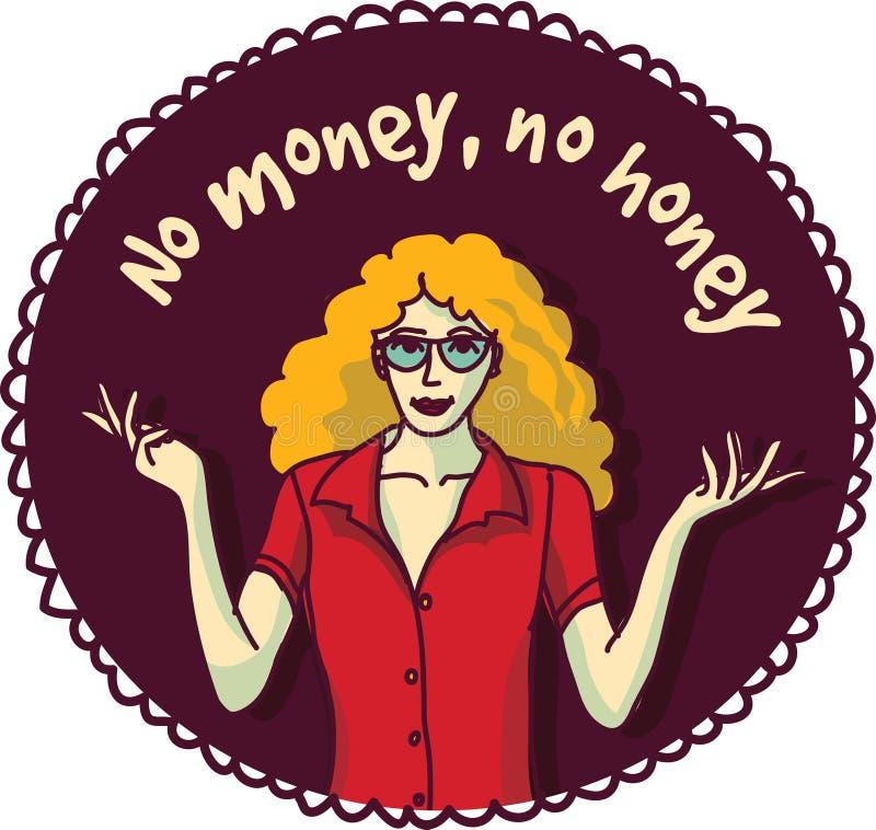 俏丽的妇女和标志关于金钱上色围绕贴纸 皇族释放例证
