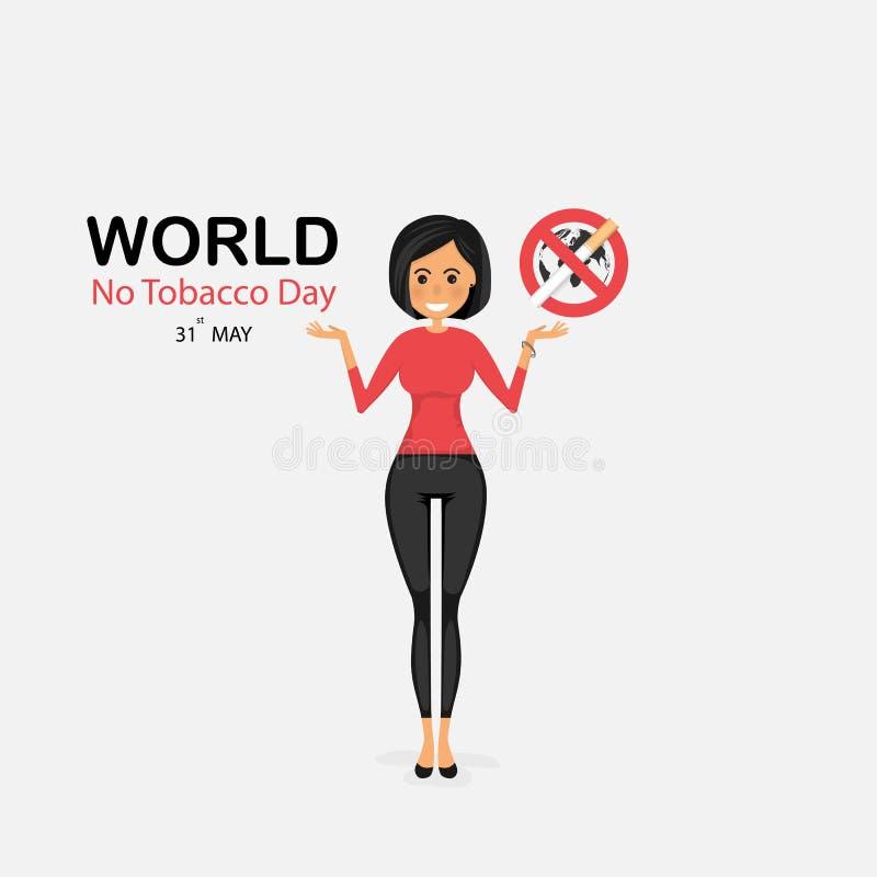 俏丽的妇女和被放弃的烟草传染媒介商标设计模板 5月31日 库存例证