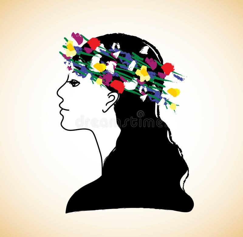 年轻俏丽的妇女外形和花 向量例证