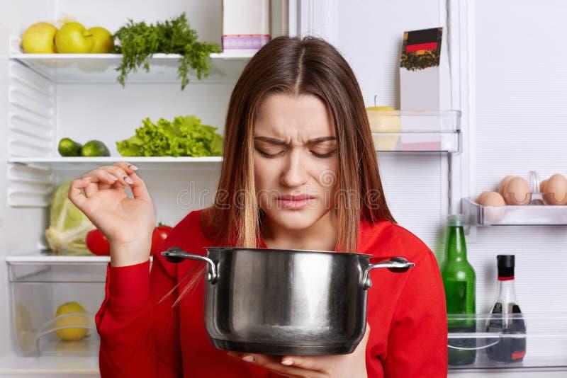 俏丽的妇女拿着平底深锅,感觉令人不快的恶臭,尽管有被损坏的盘,穿红色女衬衫,在被打开的冰箱,去的t附近站立 图库摄影