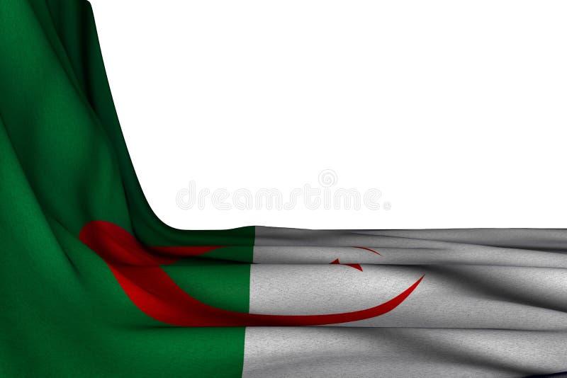俏丽的宴餐旗子3d例证-垂悬在白色的角落的阿尔及利亚旗子被隔绝的大模型与文本的自由空间 库存例证