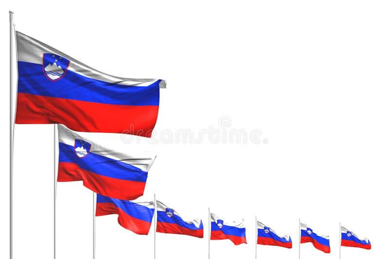 俏丽的宴餐旗子3d例证-许多斯洛文尼亚旗子在与空间的白色安置了被隔绝的对角线您的内容的 向量例证