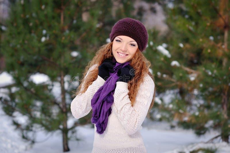 俏丽的微笑的妇女画象室外在冬天 库存照片
