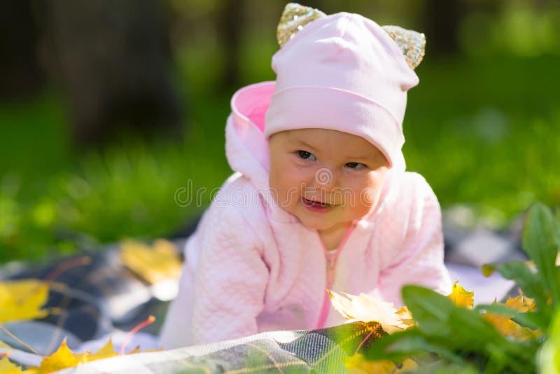 俏丽的快乐的矮小的女婴在秋天公园 图库摄影
