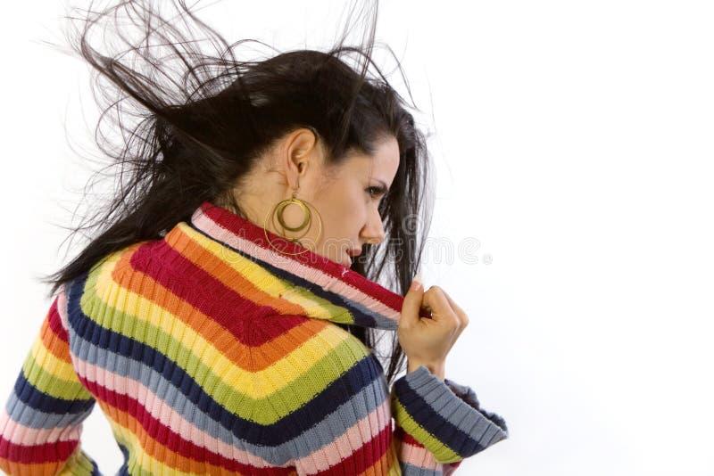 俏丽的毛线衣妇女 免版税库存图片